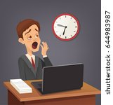 tired sad busy office worker... | Shutterstock .eps vector #644983987