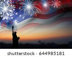 american flag with fireworks at ... | Shutterstock . vector #644985181