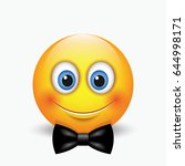 cute emoticon with a black bow  ... | Shutterstock .eps vector #644998171