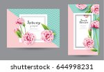 Banners With Peony Pink Flower...
