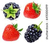 strawberry and blackberry ... | Shutterstock . vector #645000499