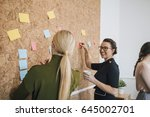 two women are at work in an... | Shutterstock . vector #645002701