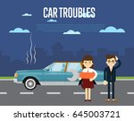 car troubles banner with people ...   Shutterstock .eps vector #645003721