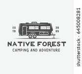 vintage camping outdoor and... | Shutterstock .eps vector #645008281