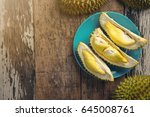 top view of durian king of... | Shutterstock . vector #645008761