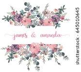 Stock photo watercolor floral frame border flower illustration for wedding anniversary birthday 645010645