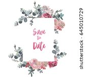 Stock photo watercolor floral frame border flower illustration for wedding anniversary birthday 645010729