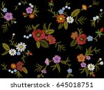embroidery colorful floral... | Shutterstock .eps vector #645018751
