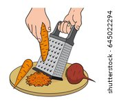 process of grating vegetables... | Shutterstock .eps vector #645022294