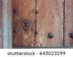 heart shaped keyhole surround... | Shutterstock . vector #645023299