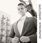 black and white portrait of... | Shutterstock . vector #645027295