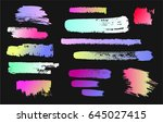 paint stains on a black... | Shutterstock .eps vector #645027415