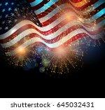 united states flag. fireworks... | Shutterstock .eps vector #645032431
