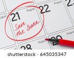 Save the Date written on a calendar - August 21