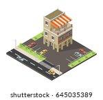 isometric vector cafe... | Shutterstock .eps vector #645035389