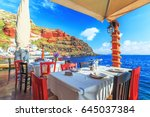 Restaurant At Sea Shore Against ...