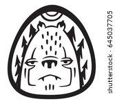 melancholic bear face  tattoo... | Shutterstock .eps vector #645037705