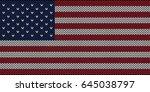 flag of usa  knitting seamless... | Shutterstock .eps vector #645038797