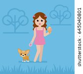young woman with a small dog... | Shutterstock .eps vector #645040801