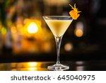 closeup glass of eggnog... | Shutterstock . vector #645040975
