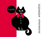 fashion black cat in elegant... | Shutterstock .eps vector #645043531