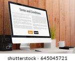 modern wooden workspace with...   Shutterstock . vector #645045721
