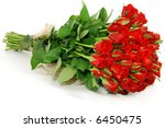 Stock photo bunch of red roses isolated on the white background 6450475