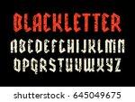 narrow sanserif font in black... | Shutterstock .eps vector #645049675