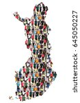 finland map multicultural group ... | Shutterstock . vector #645050227