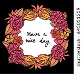 flower illustration frame with  ... | Shutterstock .eps vector #645051259