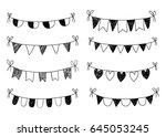 black doodle bunting on white... | Shutterstock .eps vector #645053245