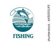 illustration of fishing emblem... | Shutterstock .eps vector #645055195