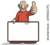 man with a signboard | Shutterstock .eps vector #645062191