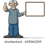 man with a signboard | Shutterstock .eps vector #645062209