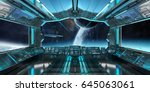 spaceship interior with view on ... | Shutterstock . vector #645063061