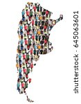 argentina map multicultural... | Shutterstock . vector #645063601