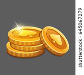 few gold coins icon. vector... | Shutterstock .eps vector #645067279