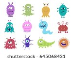 funny and scary bacteria... | Shutterstock .eps vector #645068431