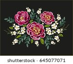 beautiful embroidery floral... | Shutterstock .eps vector #645077071