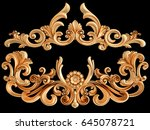 gold ornament on a black... | Shutterstock . vector #645078721