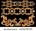 gold ornament on a black...   Shutterstock . vector #645078745