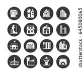building icon set in circle...   Shutterstock .eps vector #645080065
