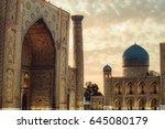 uzbekistan  samarkand mosque ... | Shutterstock . vector #645080179