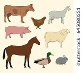 set of livestock. cartoon farm... | Shutterstock .eps vector #645080221