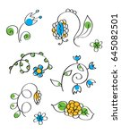 hand drawn flowers set | Shutterstock .eps vector #645082501