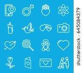 love icons set. set of 16 love... | Shutterstock .eps vector #645084379