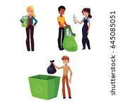 people collecting plastic... | Shutterstock .eps vector #645085051