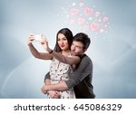 a young couple in love and... | Shutterstock . vector #645086329