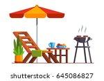 modern backyard design exterior ... | Shutterstock .eps vector #645086827