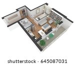 3d interior rendering of... | Shutterstock . vector #645087031